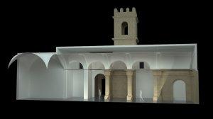 Vista parcial de la maqueta del proyecto de reconstrucción de la iglesia de San Pedro. :: L V