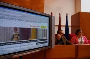 Durante la presentación de la Web, Juan Gallardo y Sandra Martínez Concejal de Cultura del Ayuntamiento de Lorca