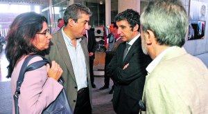 Inmaculada García, Luis Alfonso Martínez, Pedro Alberto Cruz y Alfonso Muñoz, ayer, tras la reunión del Plan Director. :: NACHO GARCÍA / AGM